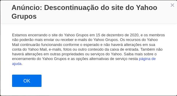 Anuncio da Yahoo sobre o encerramento do YahooGroups